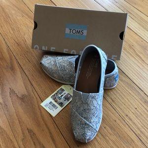 New TOMS Classic Silver Lace Glitz for wedding,6,